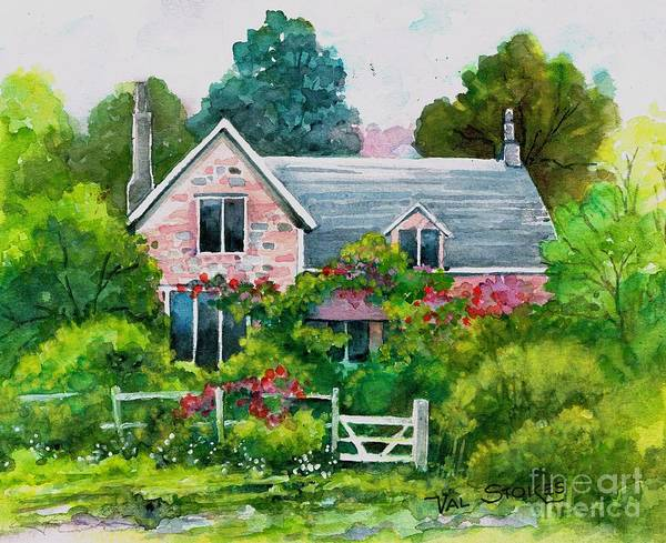Painting - English Country Cottage by Val Stokes