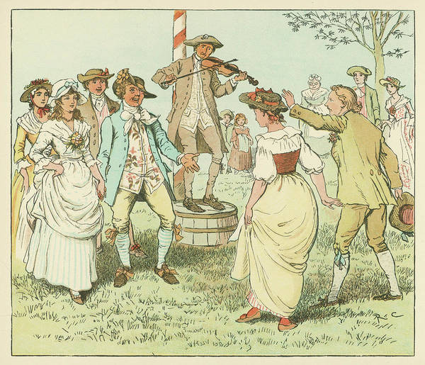 Wall Art - Drawing - English Countryfolk Dancing  Round by Mary Evans Picture Library