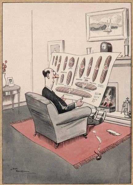 Wall Art - Drawing - English Gentleman Sets His  Pipe On One by Mary Evans Picture Library