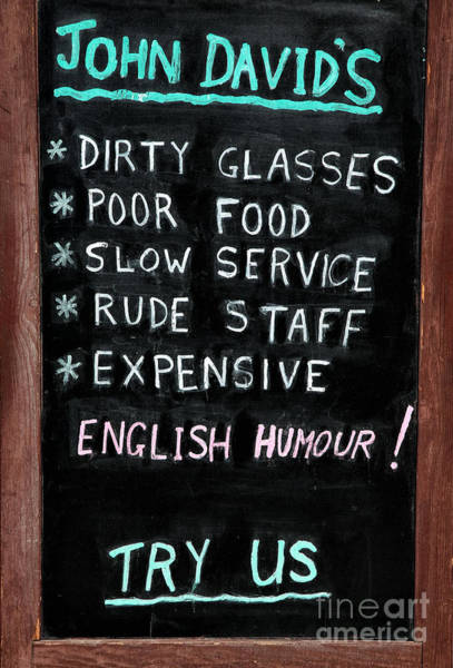 Wall Art - Photograph - English Humor by John Rizzuto