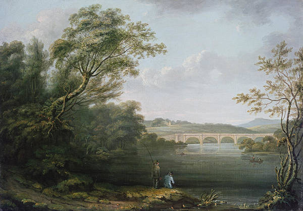 Riverscape Wall Art - Photograph - English Landscape With Fishermen by Anonymous