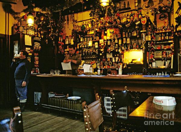 Bar Tender Photograph - English Pub At Christmas-time Uk 1980s by David Davies