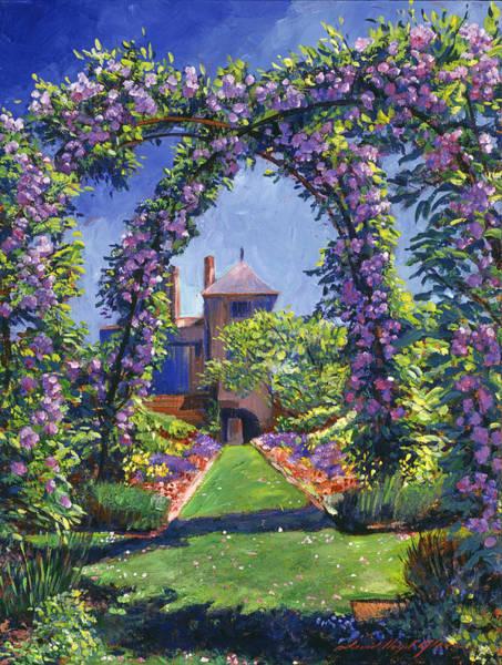 Arbor Wall Art - Painting - English Rose Arbor by David Lloyd Glover