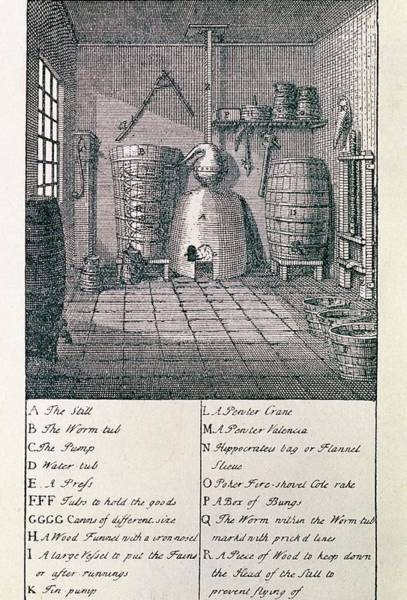 Wall Art - Photograph - Engraving Of A 18th Century Whisky Distillery by George Bernard/science Photo Library