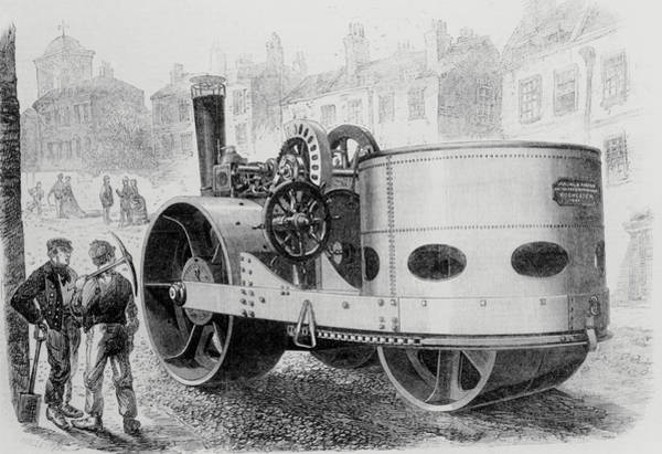 Traction Photograph - Engraving Of A Steam-driven Road Roller by Science Photo Library