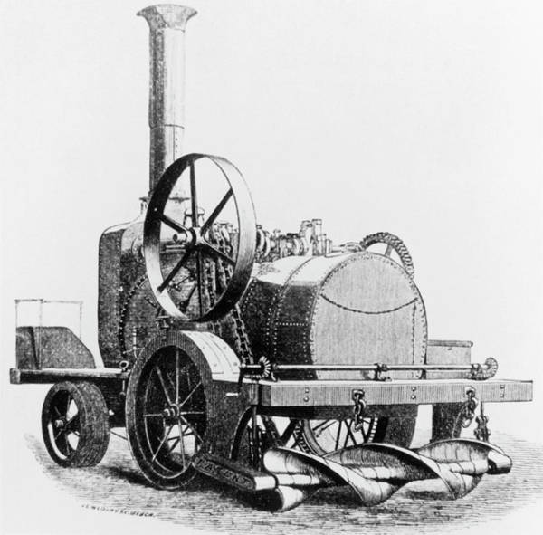 Traction Photograph - Engraving Of A Steam-driven Traction Engine by Science Photo Library