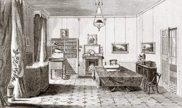 Work Of Art Photograph - Engraving Of Interior Of Faraday's Study by National Library Of Medicine/science Photo Library