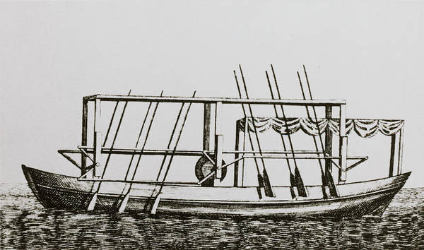 Steam Boat Photograph - Engraving Of John Fitch's Steam Boat Of 1787 by Science Photo Library