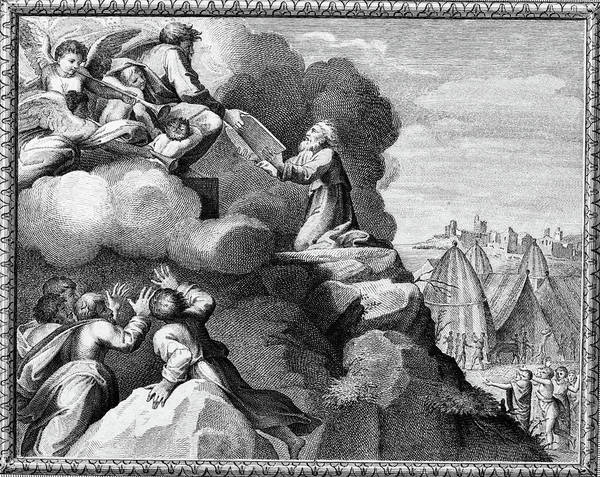 Wall Art - Painting - Engraving Of Moses Receiving The Ten by Vintage Images
