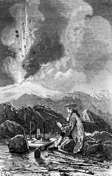 Engraving Of Mt Etna Being Observed By Spallanzani Art Print