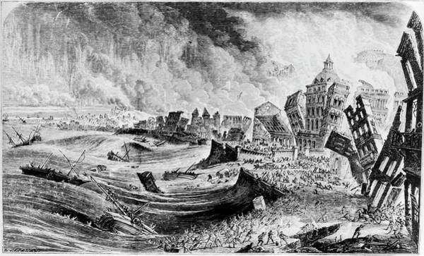 1755 Photograph - Engraving Of The 1755 Lisbon Earthquake by Science Photo Library