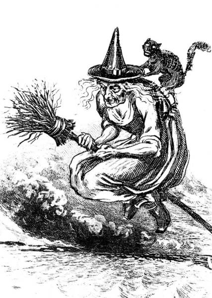 Crone Wall Art - Painting - Engraving Of Ugly Old Witch Riding by Vintage Images