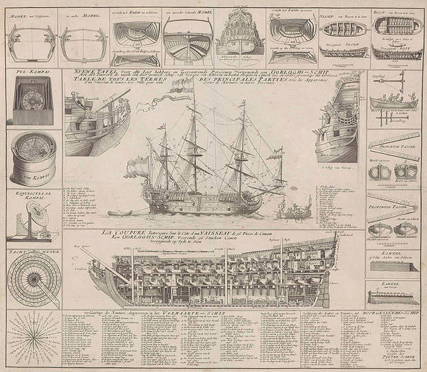 Wall Art - Drawing - Engraving Showing Cross Sections Of A Warship by Pieter Schenk (i)