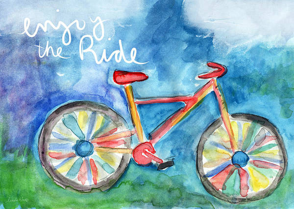 Forests Wall Art - Painting - Enjoy The Ride- Colorful Bike Painting by Linda Woods