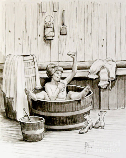 Painting - Bawdy Lady Bath - 1890's by Art By - Ti   Tolpo Bader