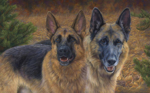 Canine Wall Art - Painting - Enjoying The Fall by Lucie Bilodeau