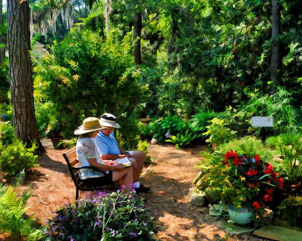 Loving Couple Enjoying Their Prayer Garden Art Print