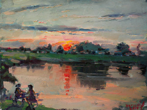 Wall Art - Painting - Enjoying The Sunset By Elmer's Pond by Ylli Haruni