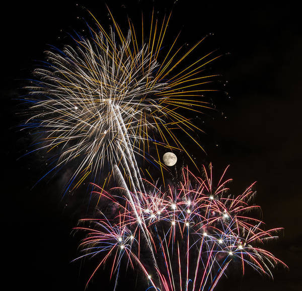 Photograph - Enjoying The View - Fireworks And Moon by Penny Lisowski