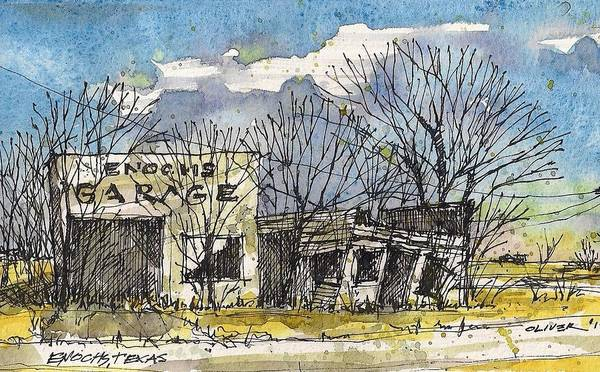 Pen And Ink Mixed Media - Enochs Garage by Tim Oliver