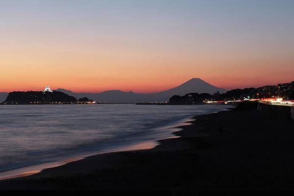 Kamakura Wall Art - Photograph - Enoshima Island And Mount Fuji At Dusk by Tetsuya Aoki