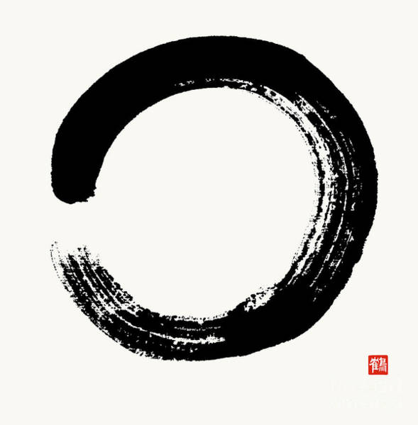 Chinese Brush Painting - Enso Circle Brushed In Black Sumi by Nadja Van Ghelue