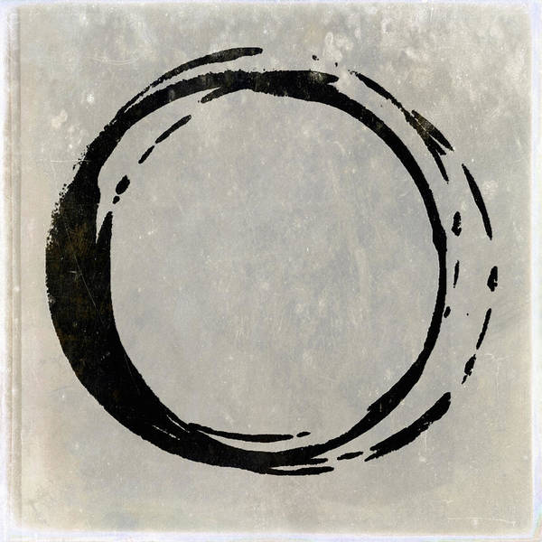 Wall Art - Painting - Enso No. 107 Black On Taupe by Julie Niemela