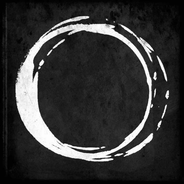 Wall Art - Painting - Enso No. 107 White On Black by Julie Niemela