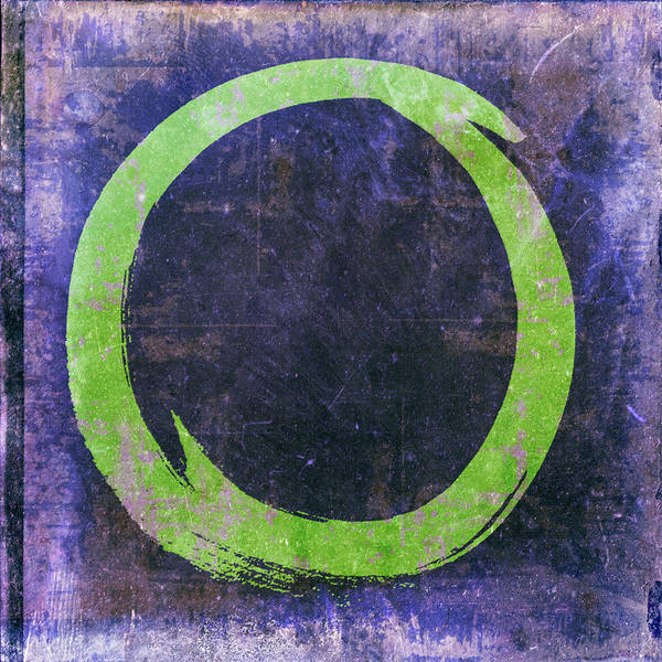 Wall Art - Painting - Enso No. 108 Green On Purple by Julie Niemela