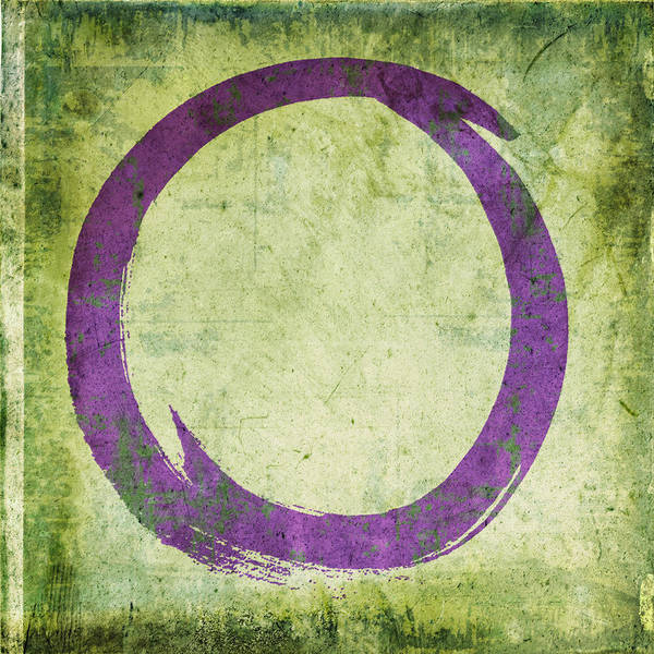Wall Art - Painting - Enso No. 108 Purple On Green by Julie Niemela