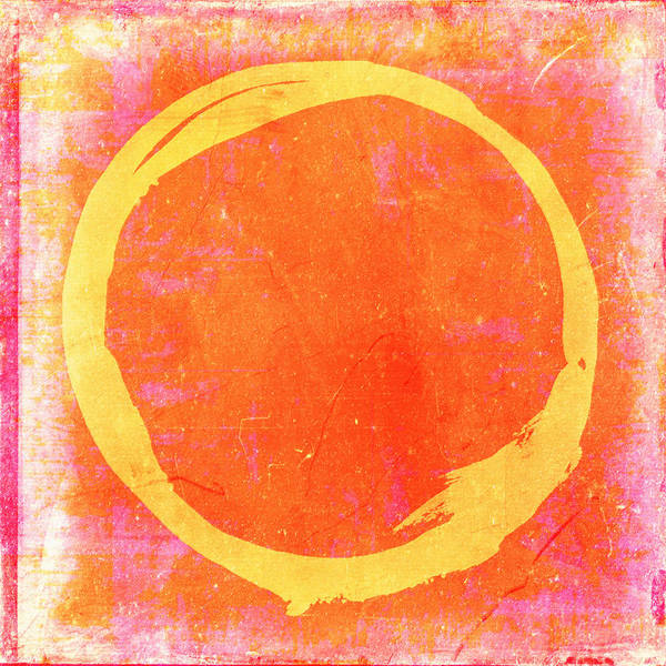 Wall Art - Painting - Enso No. 109 Yellow On Pink And Orange by Julie Niemela