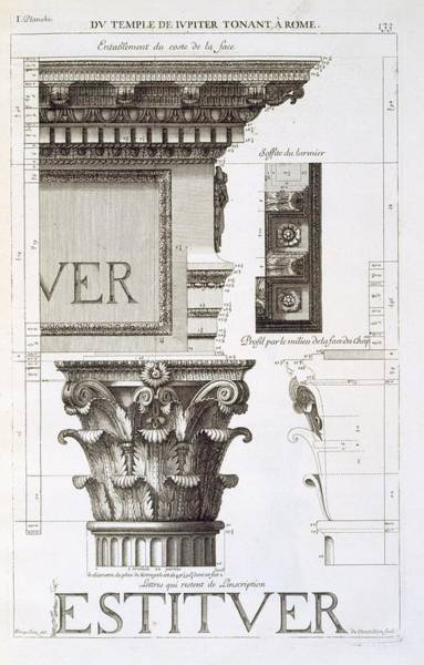 Columns Drawing - Entablature, Capital And Inscription by Antoine Babuty Desgodets