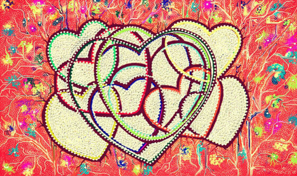 Entangled Painting - Entangled Hearts by Karunita Kapoor