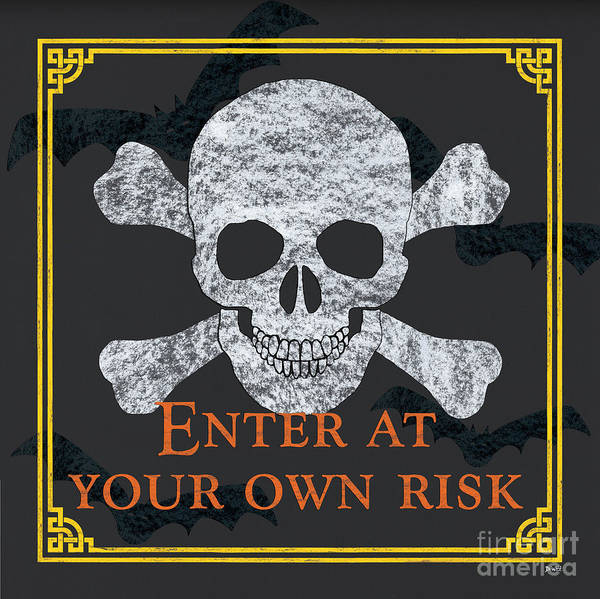 Skulls Wall Art - Painting - Enter At Your Own Risk by Debbie DeWitt