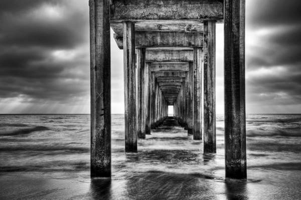 Scripps Pier Photograph - Pathway To The Light Bw by Aron Kearney
