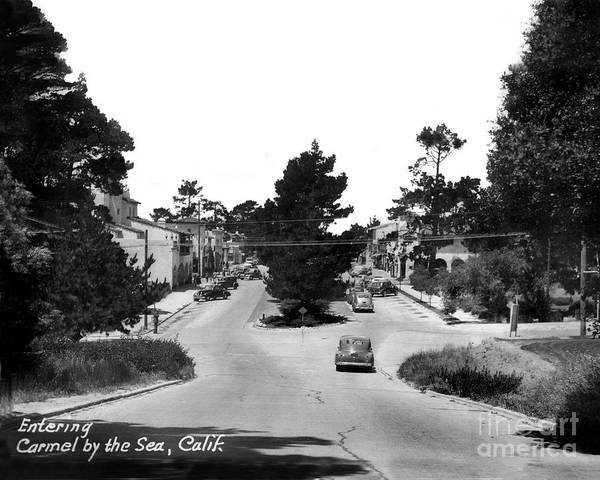 Photograph - Entering Carmel By The Sea Calif. Circa 1945 by California Views Archives Mr Pat Hathaway Archives