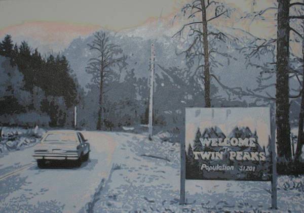 Serial Killer Painting - Entering The Town Of Twin Peaks 5 Miles South Of The Canadian Border by Luis Ludzska