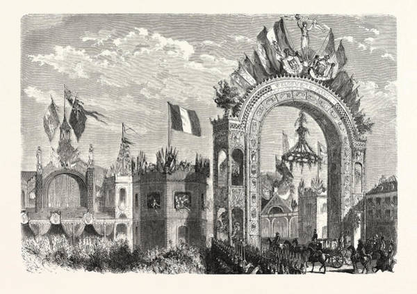 Railroad Station Drawing - Entrance Of The Queen Of England At The Railway Station by French School