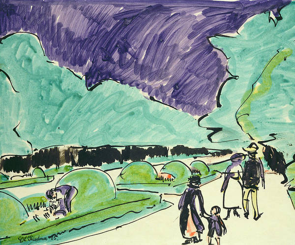 Stroll Painting - Entrance To A Large Garden In Dresden by Ernst Ludwig Kirchner
