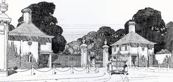 Iron Fence Wall Art - Drawing - Entrance To Brooklandwood by Thomas Hayton Mawson