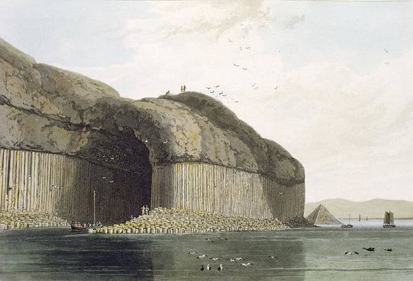 Columns Drawing - Entrance To Fingals Cave, Staffa by William Daniell