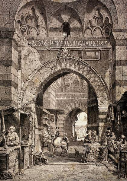 Wall Art - Photograph - Entrance To The Khan El-khalili Souk In Cairo, In The 19th Century, From El Mundo Ilustrado by European School