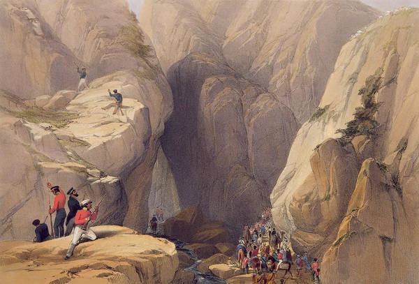 Soldier Drawing - Entrance To The Kojak Pass From Parush by James Atkinson
