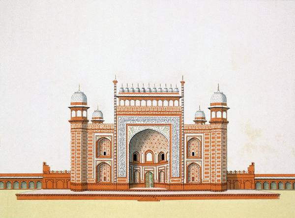 Monument Drawing - Entrance To The Taj Mahal by German School