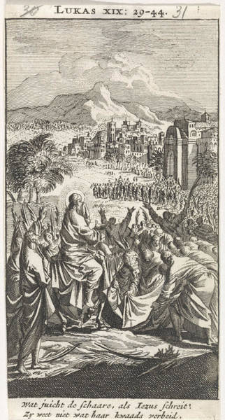 Entry Drawing - Entry Into Jerusalem, Jan Luyken, Anonymous by Jan Luyken And Anonymous
