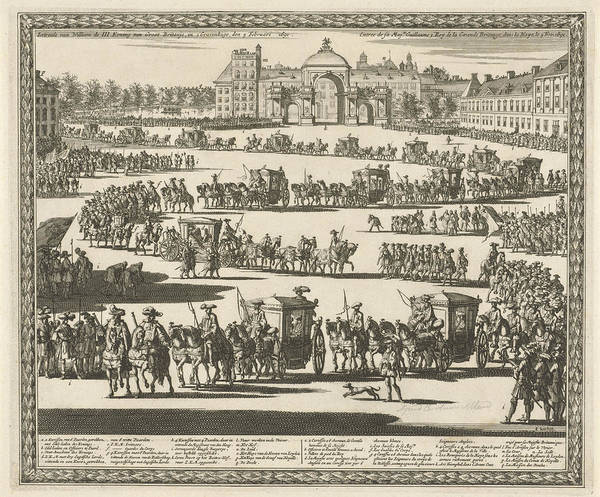 Entry Drawing - Entry Of King William IIi, The Hague, The Netherlands by Jan Luyken And Carel Allard