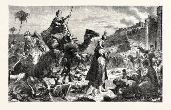 Entry Drawing - Entry Of Omar Into Jerusalem by English School