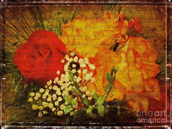Rose Bud Digital Art - Envoi De Fleurs by Lianne Schneider