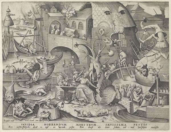 Wall Art - Drawing - Envy, Pieter Van Der Heyden, Hieronymus Cock by Pieter Van Der Heyden And Hieronymus Cock
