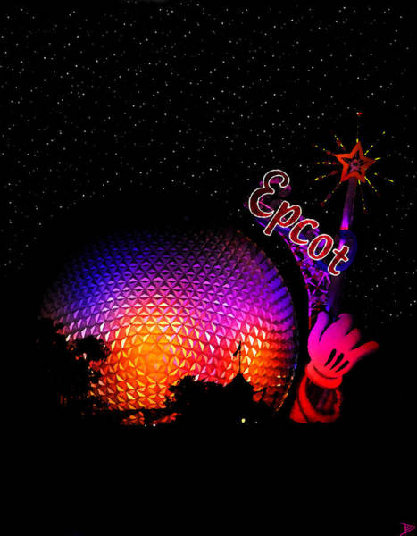 Disney World Digital Art - Epcot Night by David Lee Thompson